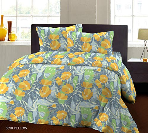 Bombay Dyeing Biggest Size 100% Pure Cotton California King (Super King) Size Double BedSheet (274cm X 274cm or 108x108 Inches or 9x9 Foot) with Two Pillow Cover (5090 YLW)