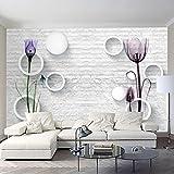 YShasaG Benutzerdefinierte Fototapete 3D Ziegel Muster Kreis Ball Tulip Blumen Abstrakte Kunst Wandbild Wand Papier Wohnzimmer TV Hintergrund Dekor, 275 cm * 252 cm