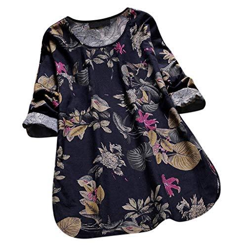 (SEWORLD Oberteil Bluse Elegant Kleid Damen Damenmode Damen Vintage Tunika Blumendruck Langarm V-Ausschnitt Mieder Bluse Shirt Tops(Y1-schwarz,EU-34/S))
