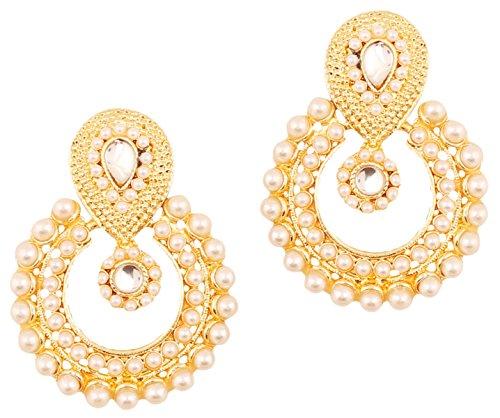 Touchstone indischen Bollywood chandbali Moon Kundan Polki Faux Perlen und Saphir Blau Strass Lang Braut Designer Schmuck Kronleuchter Ohrringe für Damen in gold Ton