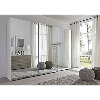 sliding door bedroom furniture. Schlafzimmer Komet White: Mirror Sliding Door Wardrobe - 301cm Wide German Made Bedroom Furniture L