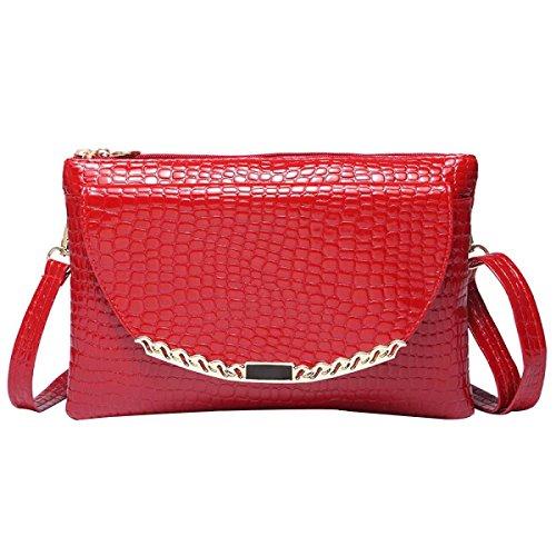 Frauen Messenger Bag Crocodile Umhängetasche Red