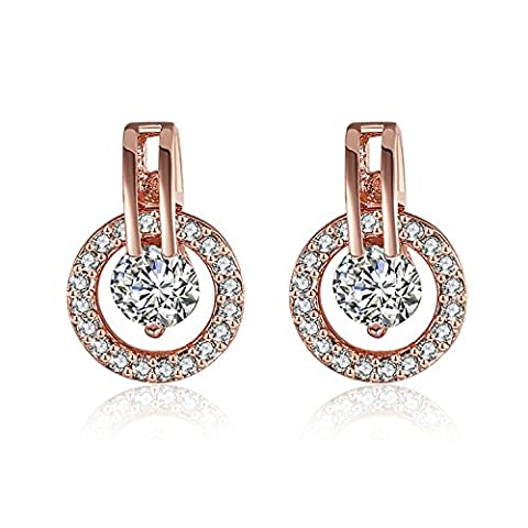 AnazoZ Jewelry Classic Circle Earrings 18K Rose Gold Plate Austrian Crystal SWA Elements Studs Earring