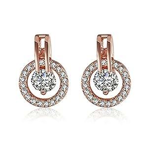 AnazoZ Fashion Jewelry Simple Personality Classic Circle Earrings 18K Rose Gold Plate Austrian Crystal SWA Elements Zirconia Women Studs Earring