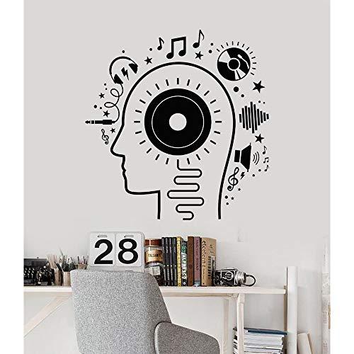 zxddzl 3D Vinyl Wandtattoo Musik Kopf Liebhaber Kopfhörer Melodie Aufkleber Jugendliche Jungen Raum Kunst Wandaufkleber Wohnkultur DIY Tapeten 110 * 113 cm