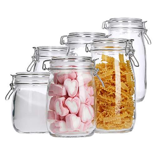 MamboCat 6 Keksdosen Irina | 0.7L + 1L + 1.5L | runde Vorrats-Gläser mit Drahtbügelverschluss | Glas-Behälter | luftdichte Aufbewahrung | Küchen-Zubehör