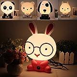 HELEISH Encantador bebé niño Dormitorio Escritorio luz Nocturna Perro Oso Conejo Panda lámpara de Dibujos Animados 220v Accesorios de iluminación LED (Color : NO. 03)