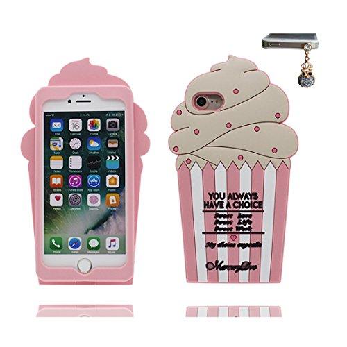 iPhone 6S Plus Custodia, iPhone 6 Plus / 6s Plus Copertura 5.5, TPU durevole morbido progettato alla moda [ Case Cartoon 3D Cover ] e tappi antipolvere con Cartoon [ ciliegia Gelato ] rosa 2