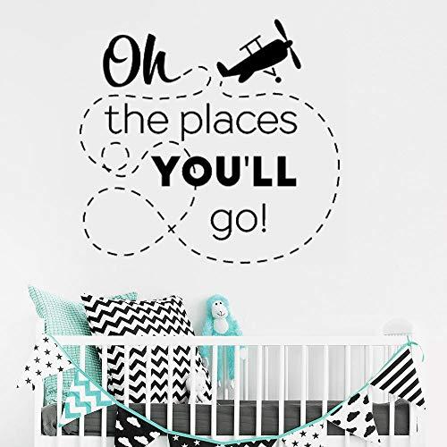 ie Orte die Sie gehen Werden Wandaufkleber für Kindergarten Kinder Spielzimmer Vinyl Aufkleber Wohnzimmer Art Deco 58x55 cm ()