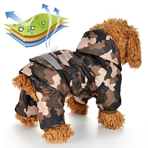JTYR Hunde Regenmantel Wasserdicht Hundemantel, Hunde Regenmantel Regenjacke Hund wasserdicht regencape für Hunde Hunde regencape für Kleine Mittelgroße Hunde,Braun,XL