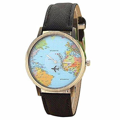 Fasching Karneval Uhren Dellin Neue globale Reise mit Dem Flugzeug Karte Frauen Kleid Uhr Denim Fabric Band (Schwarz)