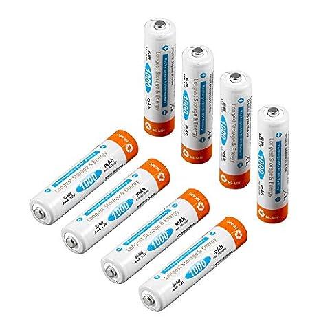 8 Piles AAA 1000mAh Dpower Ultra Pile Rechargeable Ni-MH 1.2V plus de 2000 Cycles Pré-Chargé