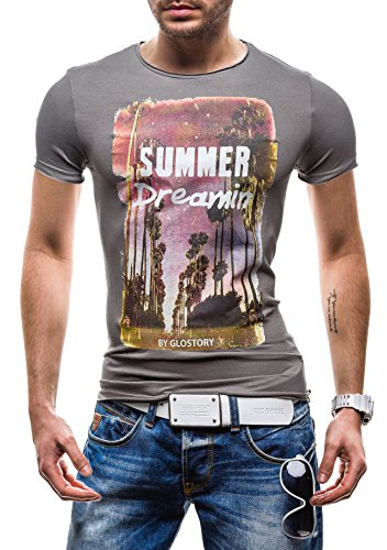 GLO STORY Herren T-shirt Figurbetont Kurzarm Men's Man Top New Fit O-Neck Slim Alltagstil Look Sport Marke Fashion Funktional 7478 Dunkelgrau