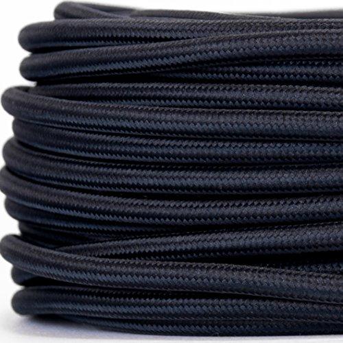 Preisvergleich Produktbild Textilkabel für Lampe, Textilummanteltes Rundkabel, dreiadrig 3x0,75mm², Schwarz - Meterware, Preis pro Meter