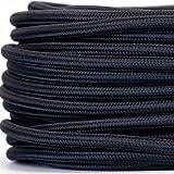 Textilkabel für Lampe, Textilummanteltes Rundkabel, dreiadrig 3x0,75mm², Schwarz - Meterware, Preis pro Meter