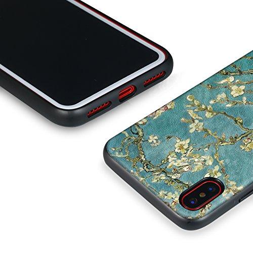 iPhone X 3-EN-1 Coque, Voguecase Housse Étui TPU Côtés + PU Face + PC Interne, Légère / Ajustement Parfait Coque Shell Housse Cover pour Apple iPhone X (Rose)+ Gratuit stylet l'écran aléatoire univers Fleurs d'aquarelle