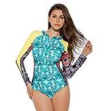 YUHUISTART Surfanzug für Damen Tauchanzug Geometrie Muster Wetsuit Neoprenanzug Langarm Weich Tauchanzug für Tauchen, Schnorcheln und Schwimmen(Mehrfarbig,S)
