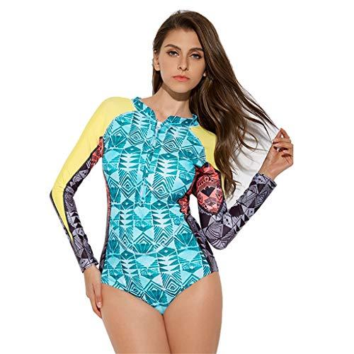 YUHUISTART Surfanzug für Damen Tauchanzug Geometrie Muster Wetsuit Neoprenanzug Langarm Weich Tauchanzug für Tauchen, Schnorcheln und Schwimmen(Mehrfarbig,M)