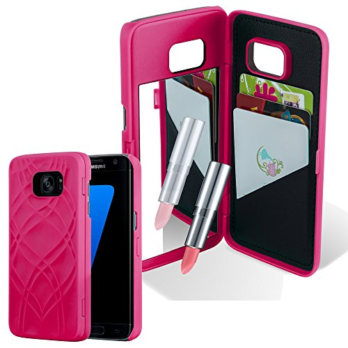 Preisvergleich Produktbild Cadorabo Hülle für Samsung Galaxy S7 Edge - Hülle in PINK – Handyhülle mit 3 Kartenfächern und Spiegel - Hard Case TPU Silikon Schutzhülle