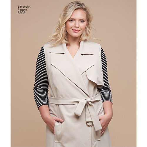 Simplicity Schnittmuster 18W-20W-22W-24W Damen Knit Tops/Mantel oder Weste/Hose/Schnittmuster, weiß (18w-24w-jacke)