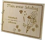 Livingstyle & Wanddesign Rustikales Gästebuch aus Holz Zum Schulanfang Personalisiert Schultüte Einschulung Fotobuch graviert (Motiv 6 48 Seiten / 24 Blatt)