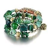 CATS Weiblich Klassisch Stein Geometrie Armband Retro-Nachahmung Naturstein Kiefer Achat Perlen Mehrschichtige Wicklung Armband Armband, Grün