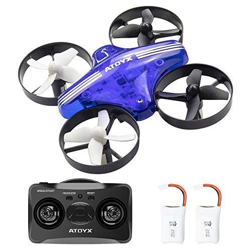 ATOYX AT-66 Mini Drohne, RC Quadrocopter Kopflosmodus Höhenhaltung 360 Grad Flip DREI Geschwindigkeitsmodus Stabiler Flug Helicopter ferngesteuert mit Spielzeug Drone für Anfänger und Kinder (Blau)