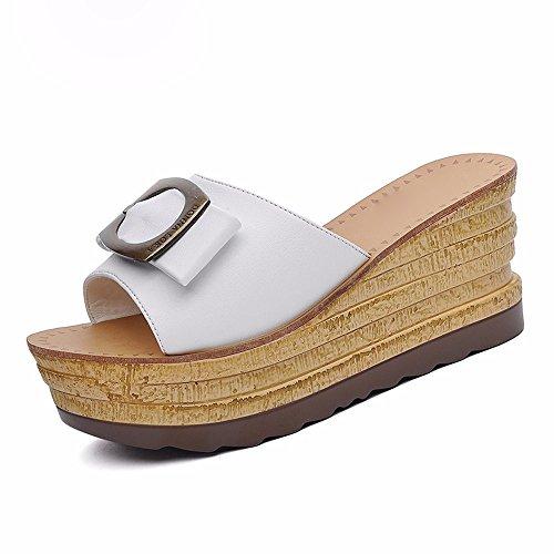 KHSKX-White 7.5Cm Pantoufles Les Femmes Portent Toutes Été Semelles Épaisses Avec Des Sandales Pantoufles Avec Lame Porte - Thirty-seven