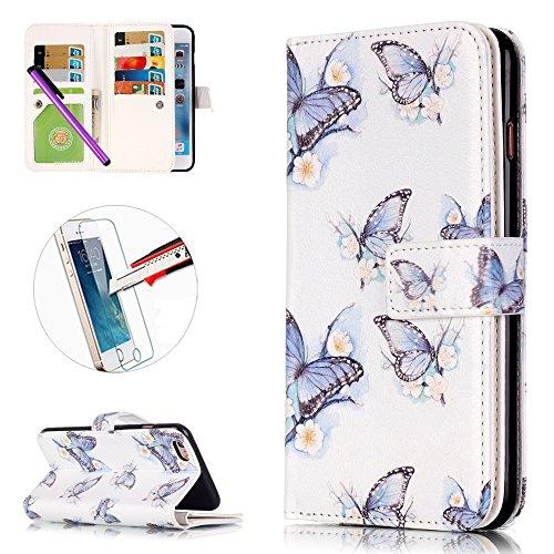 iPhone 6Plus/6S Plus 14cm Étui portefeuille en cuir PU couverture de livre, newstars léger Étui à rabat pour Téléphone portable Motif floral Mobile Protéger Peau Étui en cuir pour Apple iPhone 6Plu Y Purple Butterfly