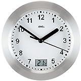 AMS 9223 Quarz Wanduhr mit Temperatur Anzeige Tischuhr Badezimmer Uhr Baduhr Neu