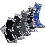 Men's Hiking Walking Outdoor Sport Socks - YUEDGE 5 Packs Men Multi Performance Wicking Cushion Crew Socks Year Round(Assortment 5 Pack Dark Grey/Dark Blue/Light Black/Light Blue/Black)