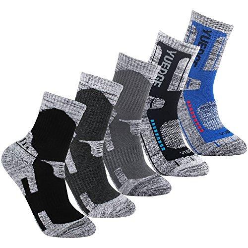 Calze uomo yuedge 5 paia wicking anti-vesciche multi-prestazioni calzini (assortimento grigio scuro/grigio chiaro/nero chiaro/azzurro chiaro/nero)
