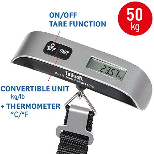 Tatkraft approved bilancia digitale pesa valige portatile in acciaio inox con portata fino a 50kg
