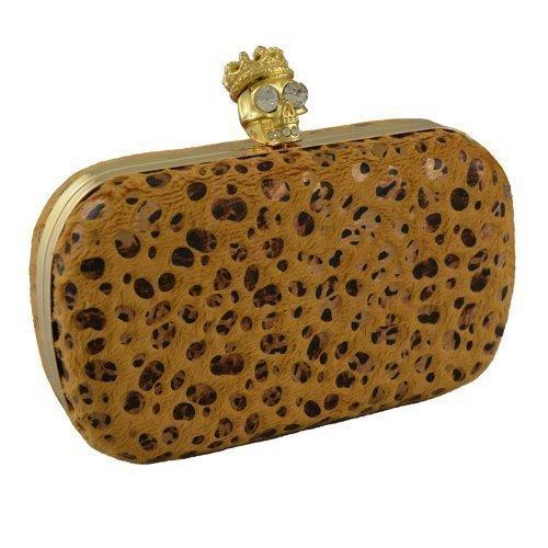 4bc1b322ed Donne Pelliccia Finta Animal Box Pochette Diamante Teschio Borsa A Spalla  Giallo