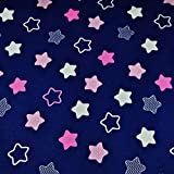 Sterne Blau Rosa 100% Baumwolle Baumwollstoff Kinderstoff