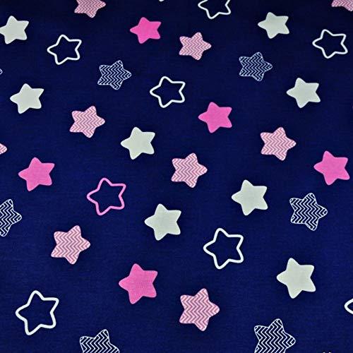 Sterne Blau Rosa 100{b2deab335b518318c971ef95282eb1c63f21a44f4b70809c48746e5484300392} Baumwolle Baumwollstoff Kinderstoff Meterware Handwerken Nähen Stoff Tiermotiv 100x160cm 1 Meter (Sterne Blau Rosa Weiß)