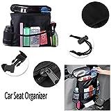 #5: Car Back Seat Organiser - Multi-Pocket Travel Storage Bag Heat-Preservation Insulated BackSeat Organizer / Travel Hanging Storage Bag With Mesh Pockets For Car By KARP - Black Color