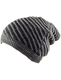 4 in 1 Unisex Beanie Snood Scarf Reversible Hat Neck Warmer in Stripes Grey/Brown/Charcoal