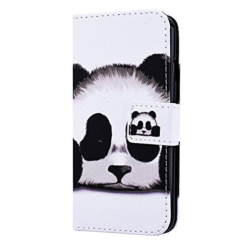 SmartLegend élégance Etui Cuir Coque pour Apple iPhone 6 Plus (5.5 pouces)/iPhone 6S Plus(5.5 pouces) Housse Painting Motif Wrist Strap Wallet Fonction Stand Flip Case Protection PU Leather à Rabat Ma Panda