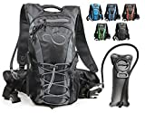 Hydration Backpack With 2.0L TPU Leak Proof Water Bladder- 600D Polyester -Adjustable Padded Shoulder, Chest & Waist Straps- Silicon Bite Tip & Shut Off Valve- Daypack For Cycling, Hiking & Camping (Grey Edges)
