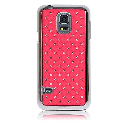 Xtra-Funky Exklusive Kristall Strassstein besetztes Case mit Chromrandeffekt für Samsung Galaxy S5 Mini - Rosa