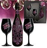 Sekt Geschenk PINK Le Club rose-pinke Kristalle und 2 schwarze Champagner Gläser für Frau beste Freundin Geburtstag Weihnachts-Geschenkset