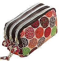 Greenlans 5 Women Cute Cat Heart Wallet Purse Triple Zipper Clutch Phone Bag  Case Organ 7a1d0652d4b83