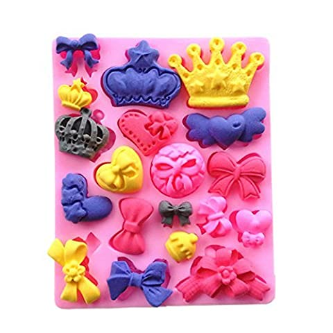 Yunko Bows Queen Crown Heart Candy Mold Silicone Chocolate Fondant Mold Cake Decoration by YunKo