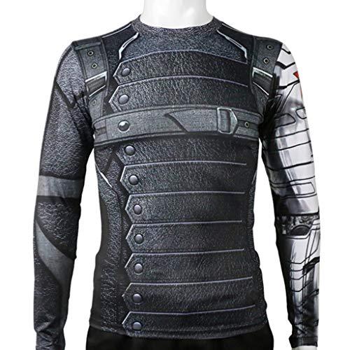Winter-Soldat-T-Shirt des Bürgerkrieg-Kapitän-Amerika-3 Barnes-T-Shirt Langärmeliges T-Shirt der Männer Halloween-Kostüm Cosplay,Black-L (Bürgerkrieg Soldat Kostüm)