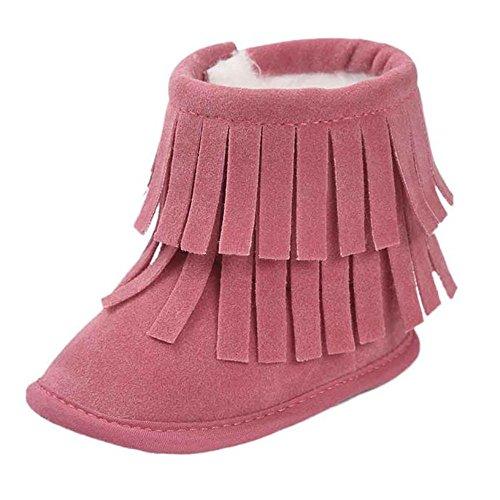 WOCACHI Baby Warmhalte Double-deck Quasten weiche Sohle Snow Boots Soft Krippe Schuhe Kleinkind Stiefel Krabbelschuhe (12cm, (Kleinkind Piraten Stiefel)