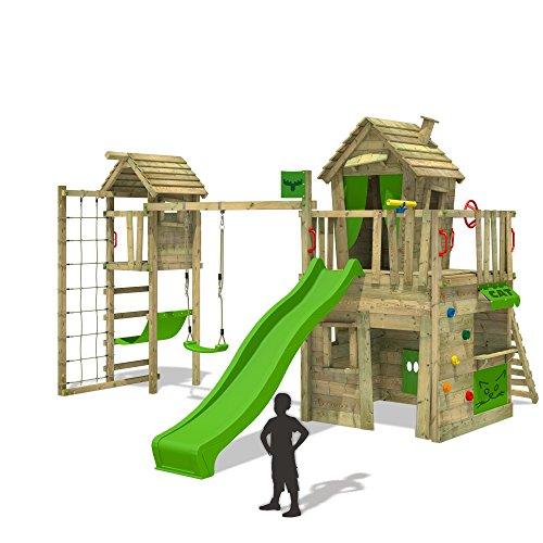 FATMOOSE CrazyCat Comfort XXL Spielturm Baumhaus mit Turmanbau Schaukel und Rutsche