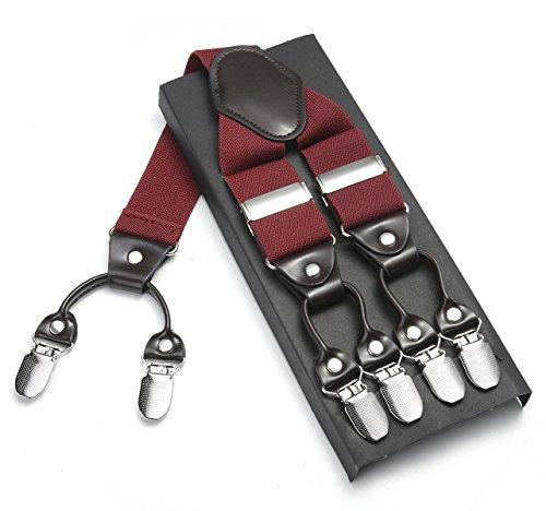 Robusto uomini braces jierku bretelle da uomo pelle bretelle 6 fibbie y indietro regolabili elastici durevoli forti clip metalliche (vino rosso)