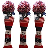USA Majek Golf 2 3 4 Hybrid Set Headcovers Pom Pom Knit Limited Edition Vintage Classic Traditional Flag Stars Red White Blue Stripes Retro Head Cover 2-4 Set