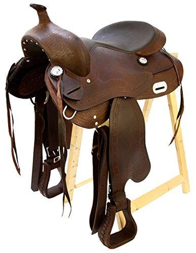 A/&M Reitsport Tree Free Western Saddle Dakota Buffalo Leather Full Quarter